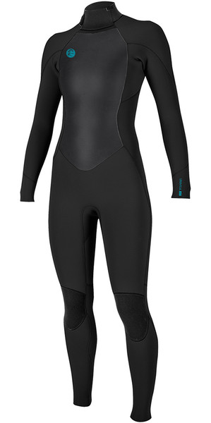 2018 O'Neill Womens O'Riginal 4 / 3mm Zip posteriore Muta NERA 5117