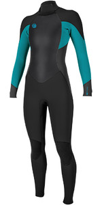 2018 O'Neill Womens O'Reiginal 4 / 3mm Zip posteriore Muta NERO / Breeze 5117