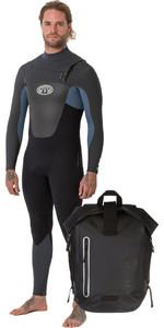 2018 Animal Mens Lava 5/4 / 3mm Brystkasse GBS Wetsuit Pewter Blue AW8WN107 & Animal Darwin Explorer Rygsæk Sort LU7WL015