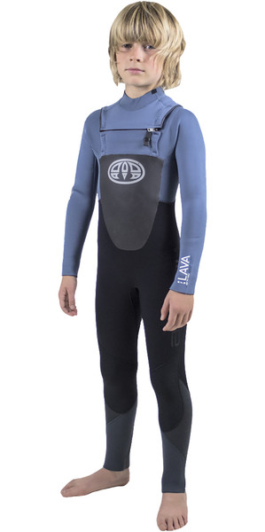 2018 Animal Junior Boys Lava 5/4 / 3mm GBS Borst Zip Wetsuit Pewter Blauw AW8WN604