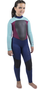 2018 Animal Junior Girls Lava 5/4 / 3mm GBS Tilbage Zip Wetsuit Dark Navy AW8WN800