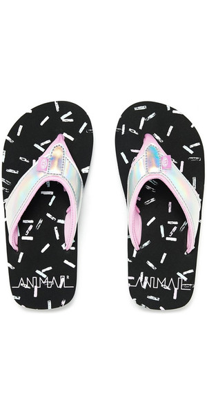 2018 Animal filles Junior Swish Glitz Flip Flops Noir FM8SN801
