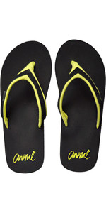 2018 Animal Frauen Swish Slim Block Flip Flops Schwarz / Lime FM8SN305