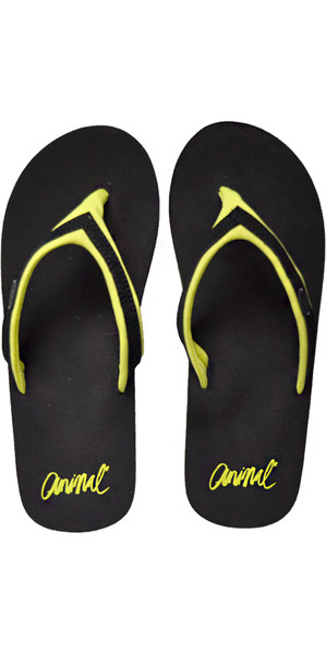 2018 Animal Womens Swish Slim Block Flip Flops Negro / Lima FM8SN305