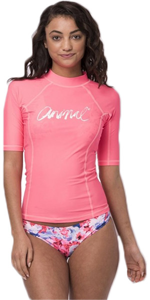 2018 Animal Damen Vickie Kurzarm UV50 Rash Vest Neon Orange CL8SN343