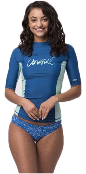 2018 Animal Womens Vickie Kurzarm UV50 Rash Vest Schnorchel Blau CL8SN343
