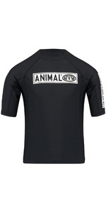 Animal Junior Boys Fisk Short Sleeve Rash Vest Sort Black CL8SN611