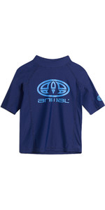 2019 Animal Junior Boys Hiltern Short Sleeve Rash Vest Nautical Blue CL9SQ610