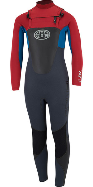 2018 Animal Junior Boys Lava 4 / 3mm GBS Chest Zip Wetsuit Rich Red AW8SN603