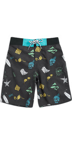 2019 Júnior Animal Meninos Lino Board Shorts Preto CL9SQ604