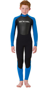 2019 Animal Júnior Boys Nova 3 / 2mm Flatlock Voltar Zip Wetsuit Preto AW9SQ602