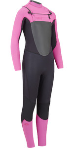 2019 Animal Junior Girls Lava 4 / 3mm GBS Borst Zip Wetsuit Zwart AW9SQ800
