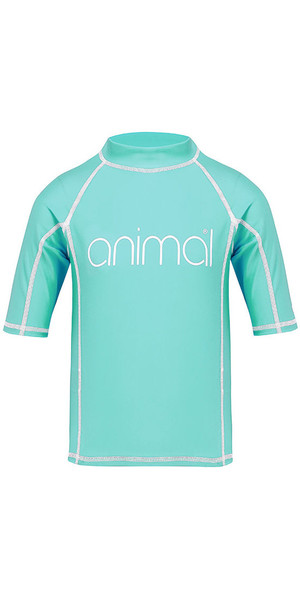 2018 Animal Junior Girls Molli Short Sleeve Rash Vest Pebermynte Blå CL8SN815