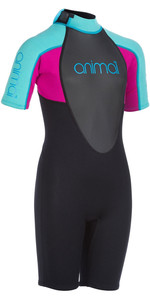 2020 Animal Junior Girl Nova 3/2mm Back Zip Shorty Wetsuit Aw0ss801 - Preto