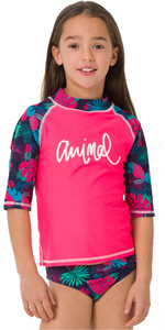 2019 Animal Junior Girls Paddle Rash Suit Psycho Red CL9SQ812
