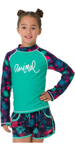 2019 Animal Junior Girls Paradise Palm Long Sleeve Rash Vest Turquoise CL9SQ811