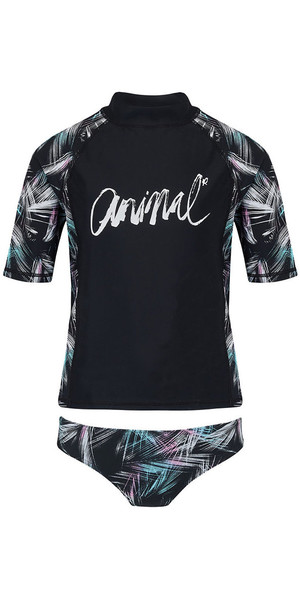 2018 Animal Junior Girls Pixie manica corta 2 pezzi Rash Vest Set nero CL8SN816