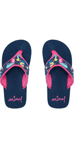2020 Animal Junior Girl's Swish øvre Flip Flops / Sandaler Fm0ss801 - Indigo Blue