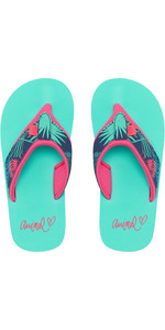 2019 Animal Junior Girls Swish Øvre AOP Flip Flops Turquoise FM9SQ801