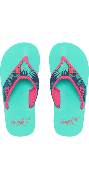 2019 Animal Junior Girls Swish Upper AOP Flip Flops Turquoise FM9SQ801