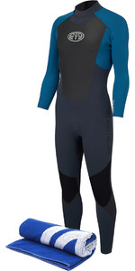 2018 Animal Lava 3 / 2mm GBS Tilbage Zip Wetsuit Marina Blue AW8SN101 & Gratis Strand Håndklæde