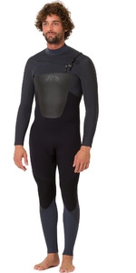 2019 Animal Mens Lava 4 / 3mm GBS Bryst Zip Wetsuit Black AW9SQ004
