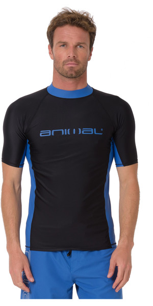 2019 Animal Mens Luli Short Sleeve Rash Vest Black CL9SQ017
