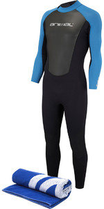 2018 Animal Nova 3/2mm Flatlock Back Zip Wetsuit Marina Blue AW8SN102 & Free Beach Towel
