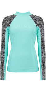 2018 Animal Womens Keshia Waves Long Sleeve Rash Vest Peppermint Blue CL8SN345