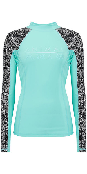 2018 Animal Womens Keshia Waves Long Sleeve Rash Vest Pebermynte Blå CL8SN345