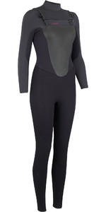 2019 Animal Damen Lava 4 / 3mm GBS Brust Zip Wetsuit Schwarz AW9SQ300