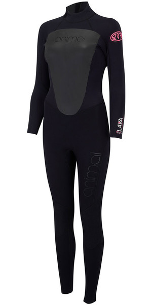 2018 Animal Womens Lava 4 / 3mm Cremallera trasera GBS Wetsuit Black AW8SN300
