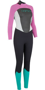 2019 Animal Vrouwen Lava 4/3mm Back Zip Gbs Wetsuit Zwart Aw9sq301
