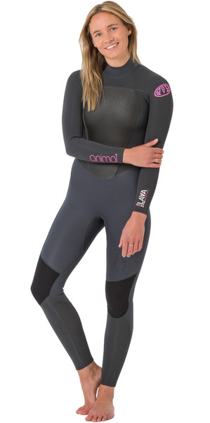2018 Animal Womens Lava 5/4 / 3mm Back Zip GBS Wetsuit Graphite Grey AW8WN301