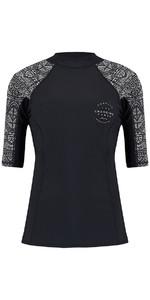 2018 Animal Womens Nessea manches courtes Rash Vest noir CL8SN344