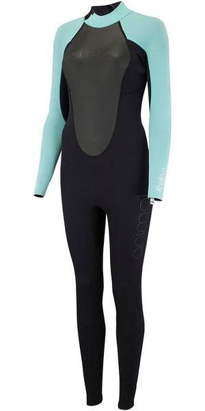 2018 Animal Womens Nova 3/2mm Flatlock Back Zip Wetsuit Black AW8SN302