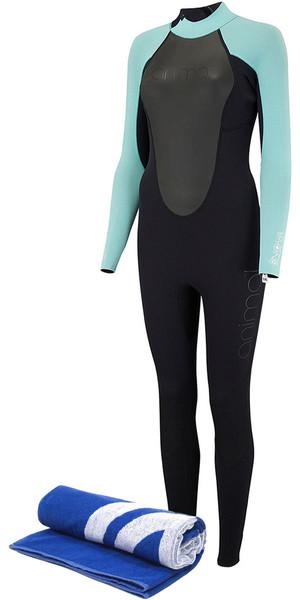 2018 Animal Womens Nova 3 / 2mm Flatlock Back Zip Wetsuit Negro AW8SN302 y toalla de playa gratis