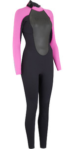 2019 Animal Womens Nova 3 / 2mm Flatlock terug Zip Wetsuit zwart AW9SQ302