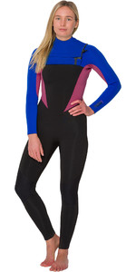 2019 Animal Vrouwen Phoenix 5/4/3mm Gbs Chest Zip Wetsuit Blauw / Roze Aw9wq300