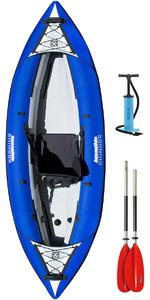 2020 Aquaglide Chinook 1 Homem Caiaque Inflável Azul + 1 Remo Livre + Bomba