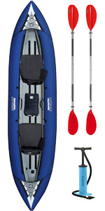 2019 Aquaglide Chinook Tandem 3 Man Inflatable Kayak BLUE & 2 PADDLES & Pump