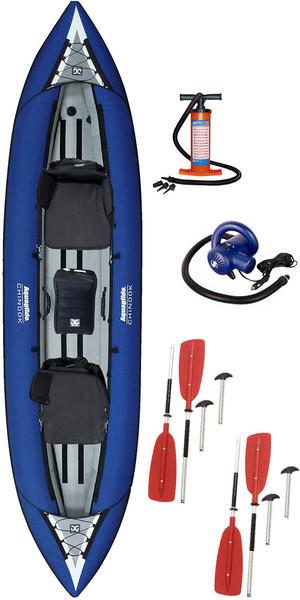 2018 Aquaglide Chinook Tandem 3 hombre Kayak + paletas, bomba manual y bomba eléctrica de alta presión