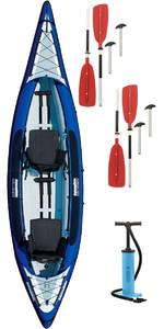 2019 Aquaglide Columbia Aquaglide 2 Kayaks De Randonnée Pour Homme + 2 Pagaies Gratuites + Pompe