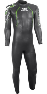 2019 Aropec Heren Vliegende Vis II 3/2mm Triatlon Back Zip Wetsuit Zwart DS3T5092M