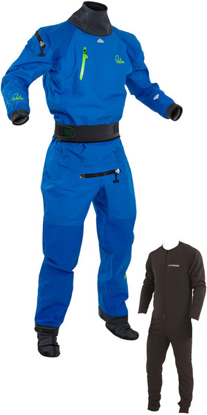 2018 Palm Atom Back Zip Whitewater Kayak Drysuit Inc Underlfeece Blu 11735