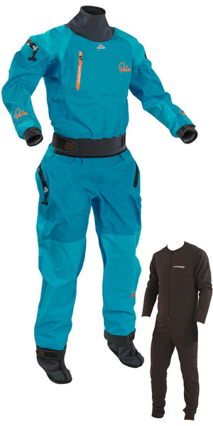 2018 Palm Womens Atom Whitewater Sollievo Zip Kayak Drysuit + Underfleece Aqua 11737