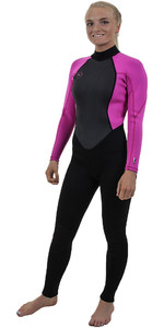 2019 O'Neill Womens Reactor II 3 / 2mm Zip posteriore Muta NERO / BERRY 5042