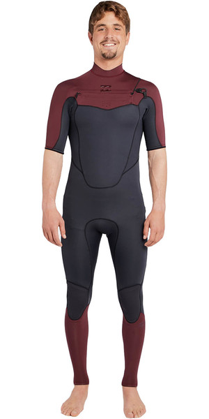 2018 Billabong Absolute 2mm Chest Zip Short Sleeve Wetsuit BIKING RED H42M25