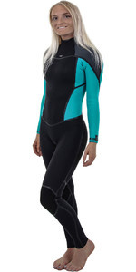 2019 O'Neill Womensuit Psycho Um 4 / 3mm Voltar Zip Wetsuit PRETO / Breeze 5097