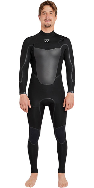 2018 Billabong Absolute X 5 / 4mm Chest Steam Wetsuit con zip NERO F45M20